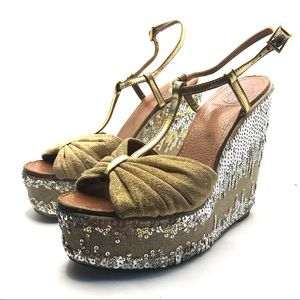 """TORY BURCH """"PERCY"""" SEQUIN WEDGE HEEL SHOES (6.5M)"""